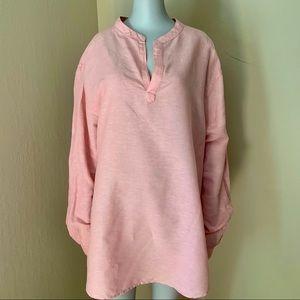 PERRY ELLIS Women's Pink Linen Long Sleeve Shirt
